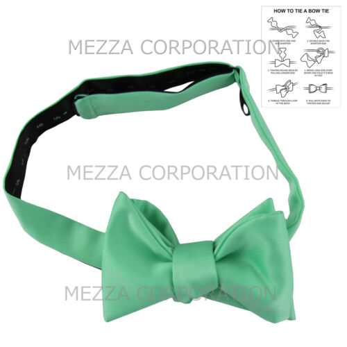 New in box men/'s self tied bowtie set solid 100/% polyester formal aqua green