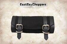 La Rosa Harley Chopper Universal Front Tool Bag - Black Canvas w Black Leather