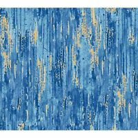 Blue & Gold Color Wash Fabric-bty-red Rooster-gr8 Fabric For Blending