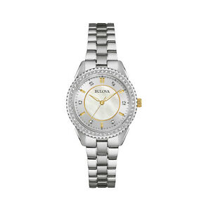 Bulova Women's Quartz Swarovski Crystal Accents Silver Tone 30mm Watch 98L223