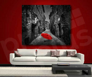 Red Umbrella Black And White Street Canvas Art Poster Print Wall
