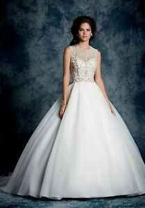 NWT-WHITE-Alfred-Angelo-950-tulle-SZ-14-rhinestone-ball-gown-wedding-dress