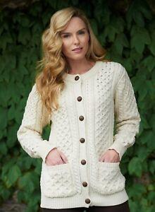 Ladies-Merino-Wool-Traditional-Aran-Irish-Cardigan-xp311-Aran-Crafts