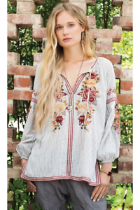 Johnny-Was-Workshop-Artemis-Stripe-Peasant-Blouse-W16418-NEW-Boho-Chic