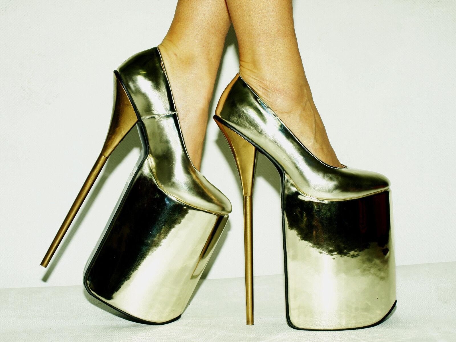 GOLD HIGH 30CM Stiefel SIZE 6-16 HEELS-12