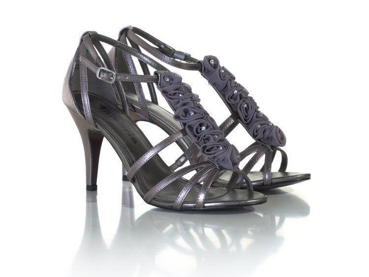 Tamaris Pewter Beaded Floral Wedding Detail Ankle Strap Stiletto Wedding Floral Mid Heel Sandal 909a1b