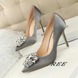 Women-039-s-Pumps-Pointed-Toe-Wedding-Stiletto-Rhinestone-High-Heels-Slim-Shoes-New