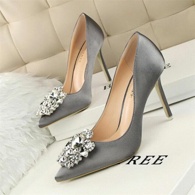 Women's Pumps Pointed Toe Wedding Stiletto Rhinestone High Heels Slim Shoes New
