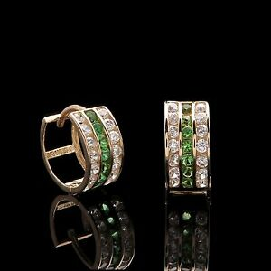 1-00TCW-Created-Diamond-amp-Green-Emerald-Earrings-14k-Solid-Yellow-Gold-Round-Cut