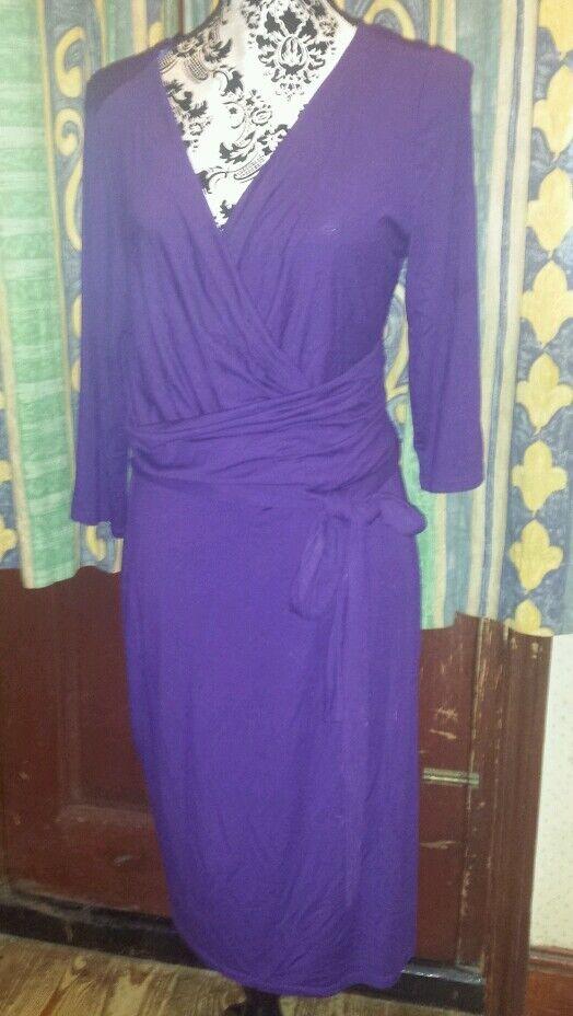 Gorgeous PHASE EIGHT Purple Wrap-Effect Dress, Size 16