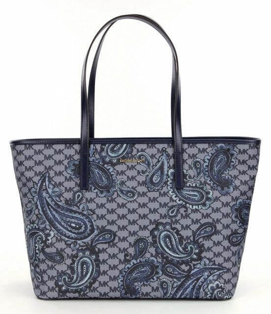 127f3e9309a9 Michael Kors Studio Paisley Emry Large Coated Canvas Top Zip Tote (Navy  Blue)