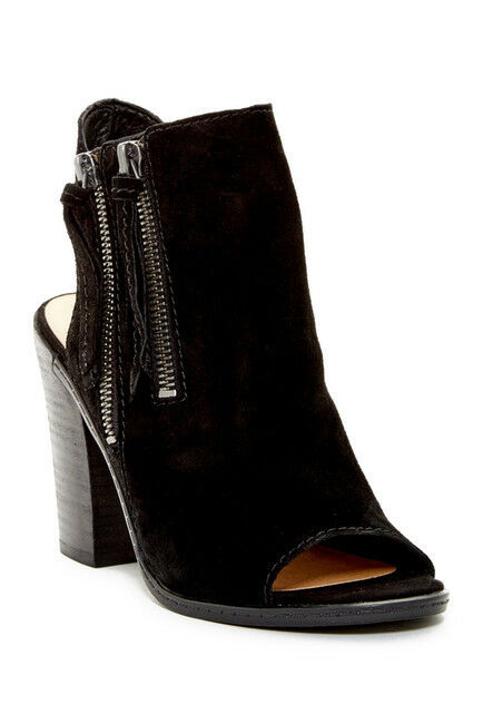 NEW Dolce Vita Niomi Open Toe Bootie Slingback Side Zip Tassels Black Suede 8.5