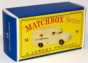 Matchbox-Lesney-No-14-BEDFORD-LOMAS-AMBULANCE-Empty-Repro-Box-style-D