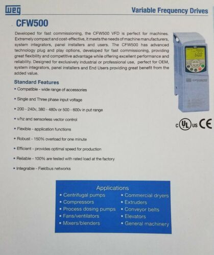 WEG VARIABLE FREQUENCY DRIVE CFW500A04P3T4NBN1 FOR 3-HP MOTOR 380-480V 3PHASE*