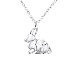 Plata-esterlina-925-Origami-Easter-Bunny-Conejo-Colgante-Collar-de-Cadena-amp-18-034