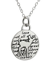 Deer Charm Necklace - 950 Sterling Silver - Handmade Inspirational Love Gift