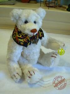 7-5in-Artist-Teddy-ROOSEVELT-BEAR-Co-OOAK-elegant-rayon-hand-made-Cathy-Peterson