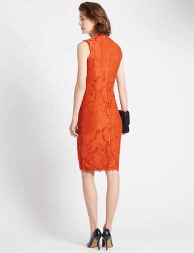 Nuevo M/&S Una Naranja Oscuro//cobre Per Encaje Vestido SZ Reino Unido 14 /& 18