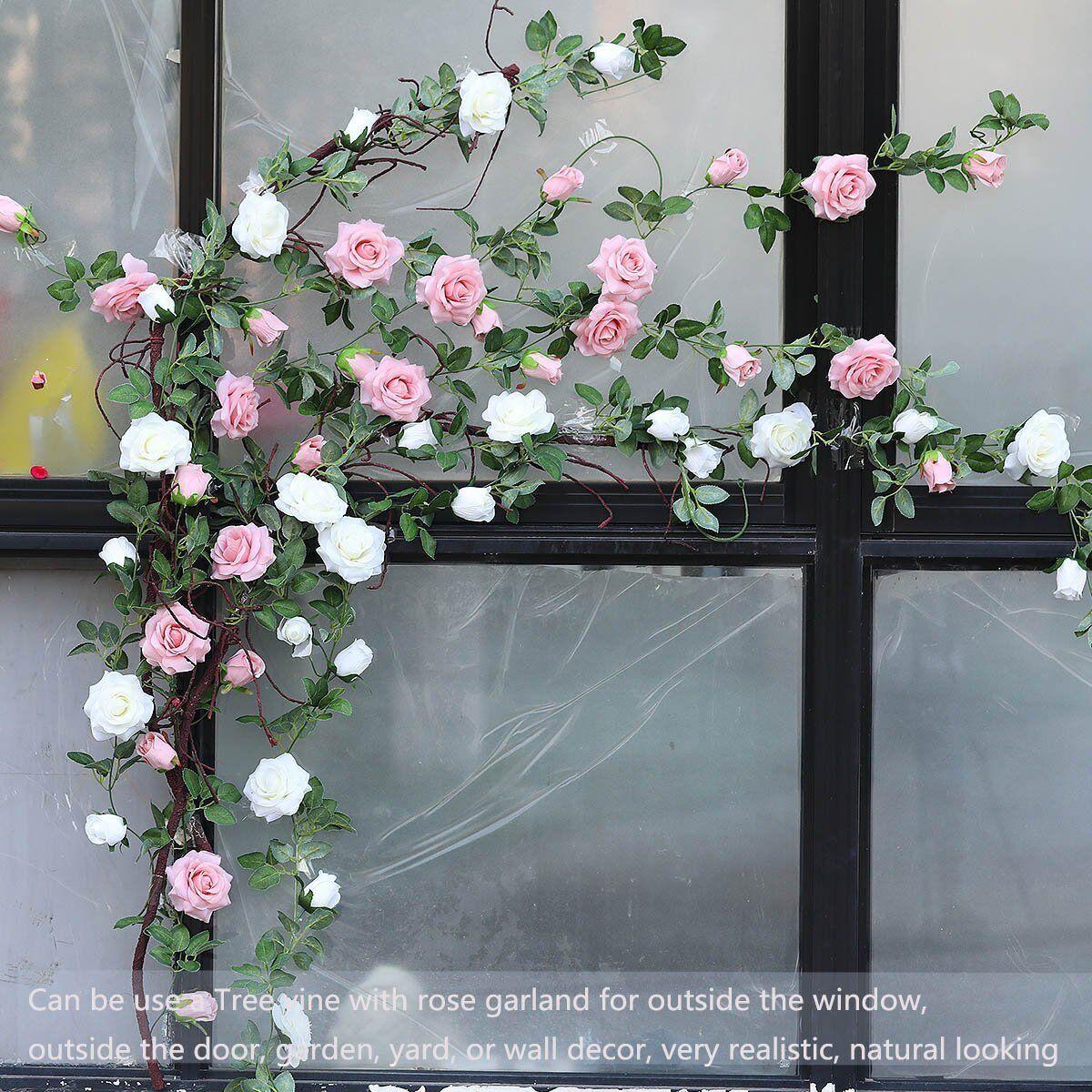 2 X 8ft Artificial Rose Garland Silk Flower Vine Ivy Wedding Garden