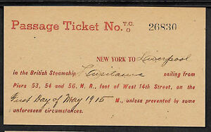 Lusitania-Cunard-Line-Reprint-Ticket-On-Original-Period-1915-Paper-Shipwreck