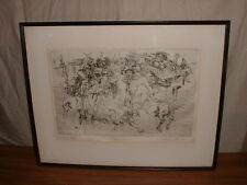 """1958 HERBERT LEWIS FINK INK DRAWING OR ETCHING """"WEEP FOR ADENAIS"""" HAND SIGNED"""