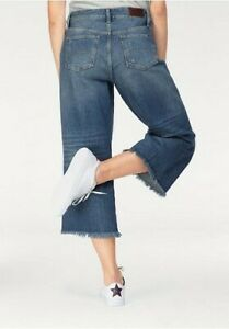 Tommy Hilfiger Jeans Annie Mid Rise Culotte Damen Hose Blue Flared Destroyed L32