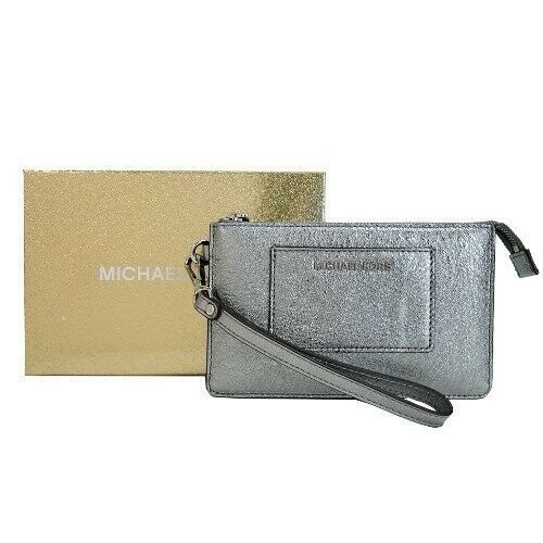 Michael Kors Small Pocket Divided Wristlet Pewter Metallic Crackle BOXED