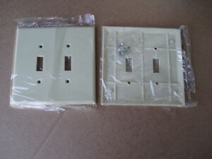 2pc-Leviton-86109-2-Gang-toggle-Ivory-oversize-bakelite-wall-plate-switch-cover