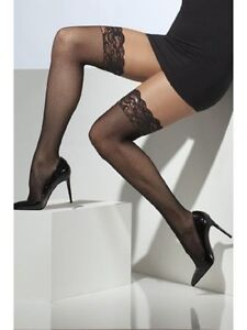 NEW-LACE-TOP-SHEER-STOCKINGS-HOLD-UPS-BNIP-NYLON-84-SPANDEX-16