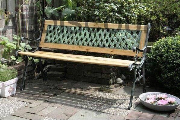 FAUTEUIL JARDIN MOBILIER FONTE ET BOIS NEUF chaise salon decoration 56