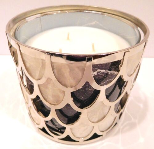 BATH /& BODY WORKS BRASS FISH SCALE PATTERN 3 WICK CANDLE HOLDER SLEEVE NEW!
