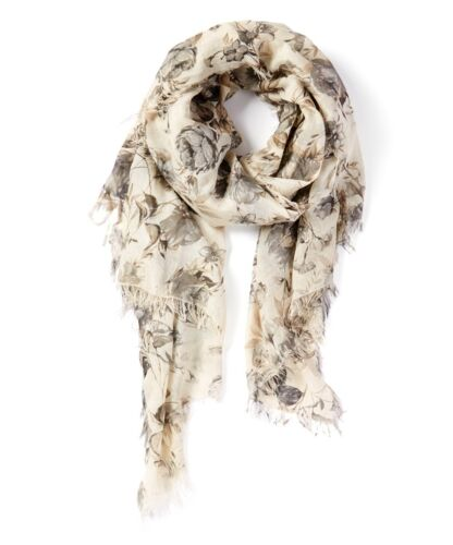 100/% Made in Italy Beach Wrap Woman/'s Fashion Scarf white and Gray Florall