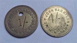 Birmingham Smithfield Market Tokens John Harrison One, Four Shillings 1/-, 4/-