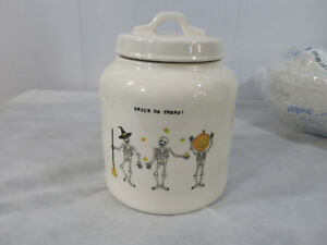 Rae-Dunn-Trick-or-Treat-Skeleton-Halloween-Canister-Cookie-Jar-Candy-Corn-New