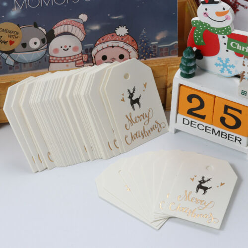 50X Kraft Tags Merry Christmas Labels Gift Wrapping Paper Hang Tags