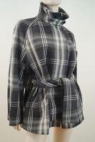 JOSEPH Grey Beige & Cream Check Virgin Wool Blend Belted Winter Jacket Coat Sz:8