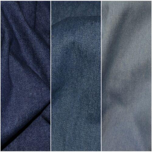 Medium weight Washed soft 8oz Denim 100/% Cotton Fabric Material 287GSM
