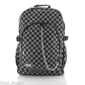 BLACK-amp-GREY-CHECK-BACKPACK-RUCKSACK-Checker-Goth-Skate-School-College-CHOK-Bag