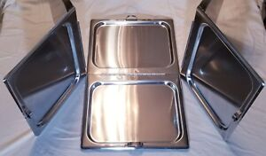 3-Full-Size-Steam-Table-Pan-Cover-Hinged-Flat-Hotel-Chafing-Dish-Folding-Lid