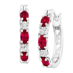 2-ct-Created-Ruby-Hoop-Earrings-with-Diamonds-in-Platinum-Plated-Brass