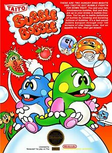 Retro Bubble Bobble Game Poster////NES Game Poster////Video Game Poster////Vintage Gam