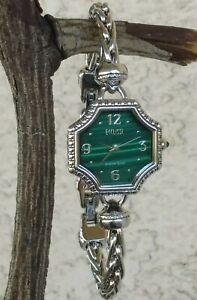 Ecclissi Octagon Shape Malachite Sterling Foxtail Bracelet Watch RARE New Batter