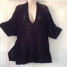 New $54~Retro-ology ~Navy SPRING Cotton Crochet Tunic Knit Top Plus size 16/14/L