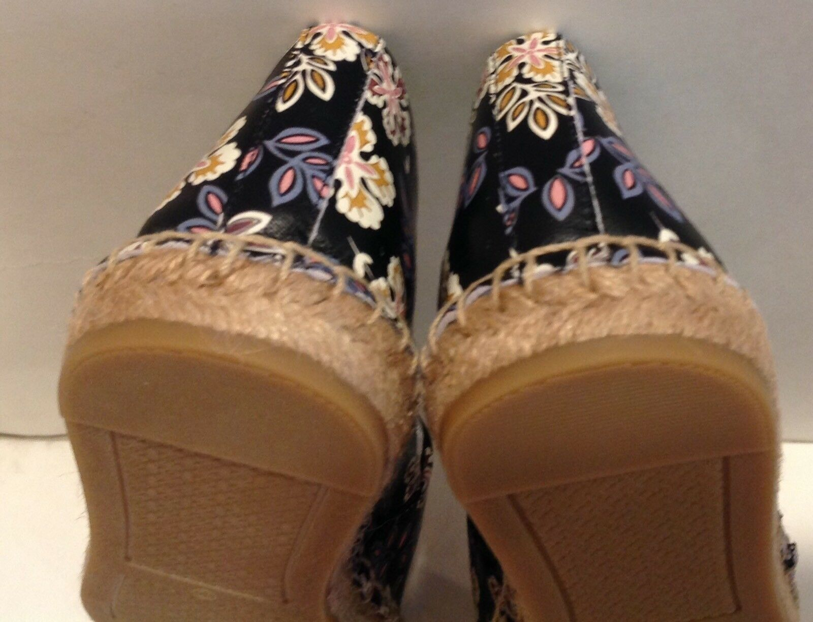 Tory Burch Hopewell Black P. Nappa Leather colorBlock Espadrille shoes shoes shoes Flat S.9 3bdaca