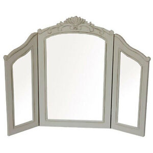 FRENCH-COUNTRY-TRIPLE-DRESSING-TABLE-MIRROR-SHABBY-CHIC-VINTAGE-ANTIQUE-CREAM