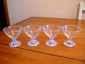 3 glass cordials dessert sherbet bowls candlewick base vintage glass