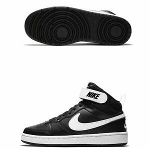 Dettagli su Scarpe ragazzo donna Nike Court Borough Mid cd7782 010 nero bianco sneakers