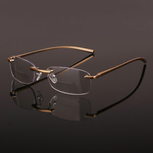 Gold-Rimless-Spring-Hinge-Eyeglasses-Bifocal-Reading-Glasses-Reader-CE-Mark