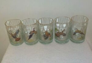 FIVE-Ned-Smith-Birds-Hunting-4-5-034-Dbl-Old-Fashioned-Rocks-Lo-Ball-Whisky-Glasses