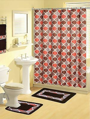 Bou Red 17-Piece Bathroom Set Bath Rugs Shower Curtain /& Rings 2 Hand Towels